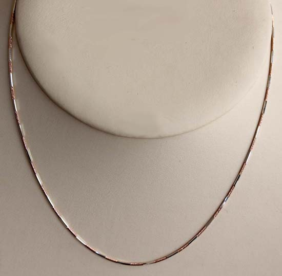 Rose Silver Two Tone 18 Inch Long Chain