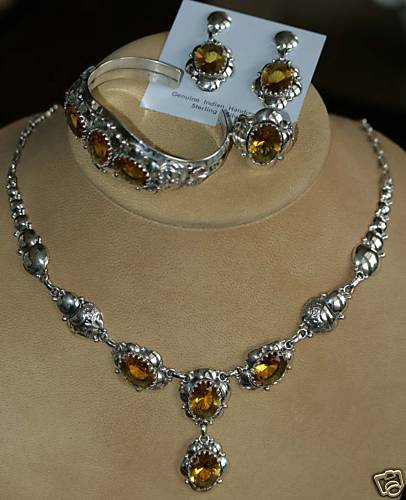 Navajo Sterling Citrine Necklace Set by Clem Nalwood