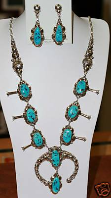 Navajo Silver Turquoise Necklace by Clem Nalwood