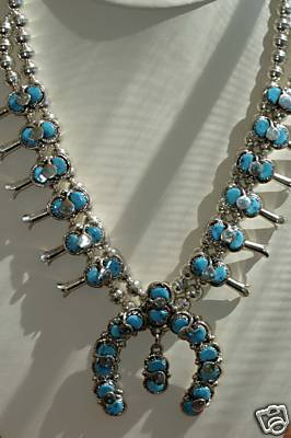 Zuni Squash Blossom Necklace/Earring Set Effie C