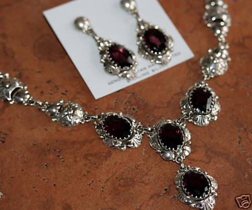 Navajo Sterling Amethyst Necklace Set by Clem Nalwood