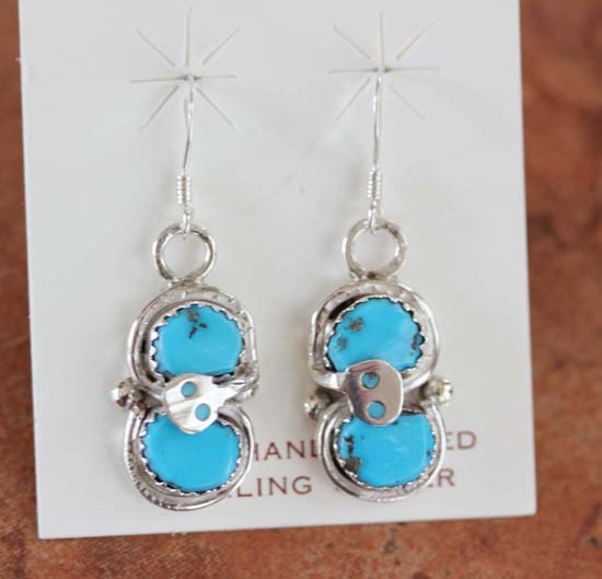 Zuni Silver Turquoise Earrings by Effie Calavaza