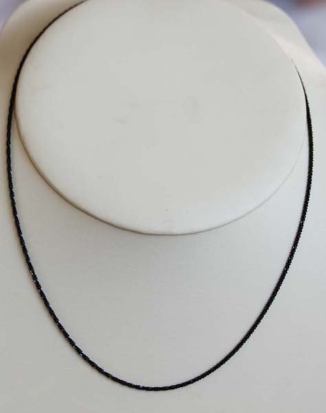 925 24 Inch Long Black Sterling Silver Chain