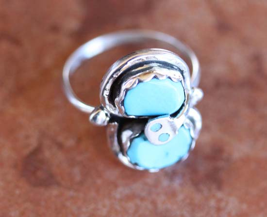 Signed Zuni Turquoise Ring Size 8 1/4 by Effie C