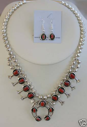 Navajo Squash Blossom Necklace/ Earrings Set