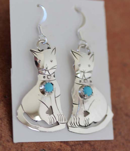 Navajo Turquoise Silver Cat Earrings