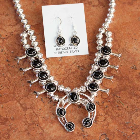 Navajo Onyx Squash Blossom Necklace and Earring Set