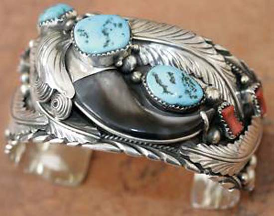 Navajo Turquoise Coral Bracelet by E Spencer