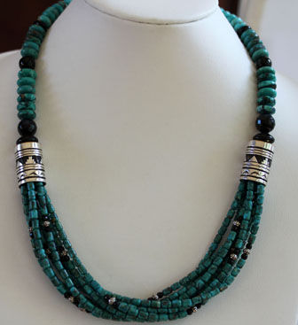 Navajo Silver Turquoise Necklace By R Singer