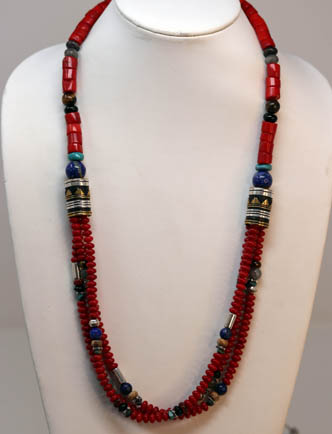 Navajo Silver Coral Necklace By R Singer