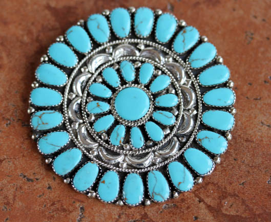 Navajo Turquoise Cluster Pin/Pendant by J Williams