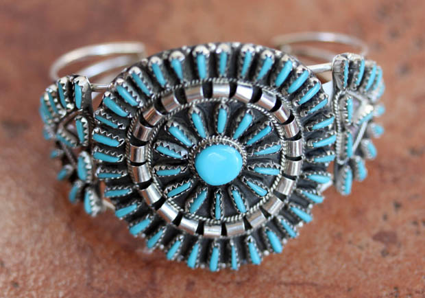 Navajo Silver Turquoise Cluster Bracelet by Begay