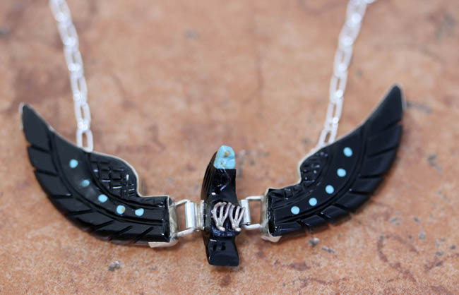 Navajo Silver Eagle Turquoise Onyx Necklace
