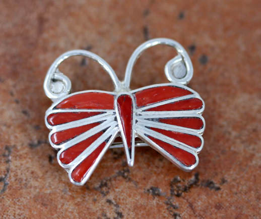Zuni Coral Butterfly Pin/Pendant