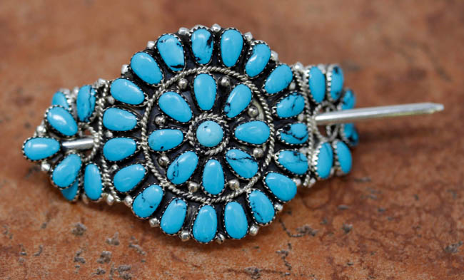 Navajo Silver Turquoise Cluster Barrette