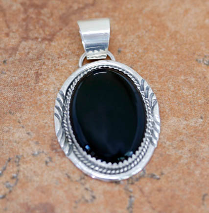 Navajo Sterling Silver Onyx Pendant