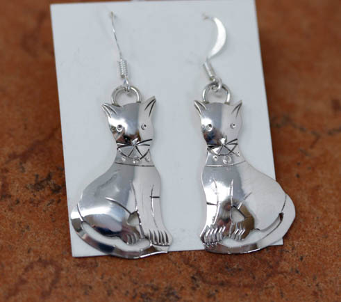 Navajo Silver Cat Earrings
