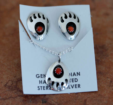 Navajo Coral Bear Paw Necklace and Earrings Set