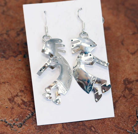 Navajo Silver Kokopelli Earrings