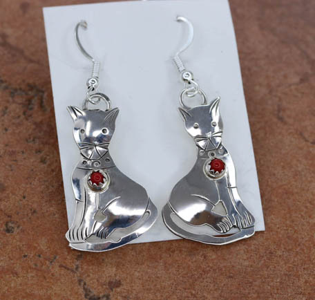 Navajo Silver Coral Cat Earrings