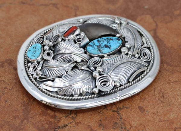 Navajo Silver Turquoise Coral Belt Buckle