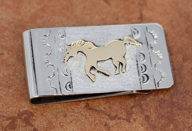 Navajo Silver Gold Horse Money Clip by RJ