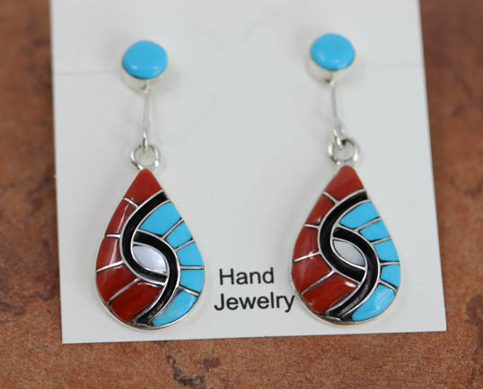 Zuni Silver Turquoise Coral Earrings