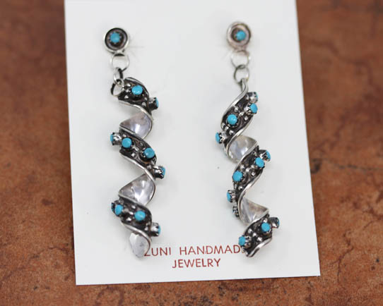 Zuni Sterling Turquoise Spiral Earrings