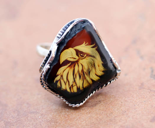 Sterling Baltic Amber Cameo Eagle Ring Size 7_10