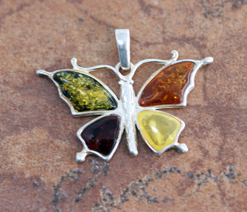 Sterling Silver Baltic Amber Butterfly Pendant