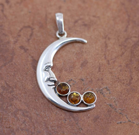 Sterling Silver Baltic Amber Moon Pendant