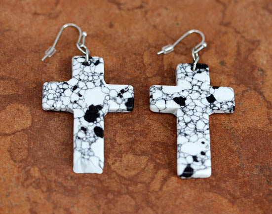 French Hook Cross Block Earrings