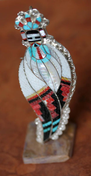 Zuni Corn Maiden Pin/Pendant with Stand by Eldred Martinez