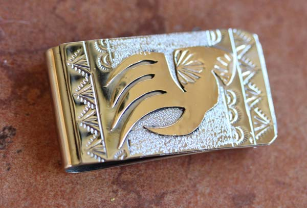 Native American Silver Gold Bear Paw Money Clip by RJ