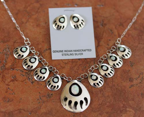 Navajo Created Opal Bear Paw Necklace and Earrings Set